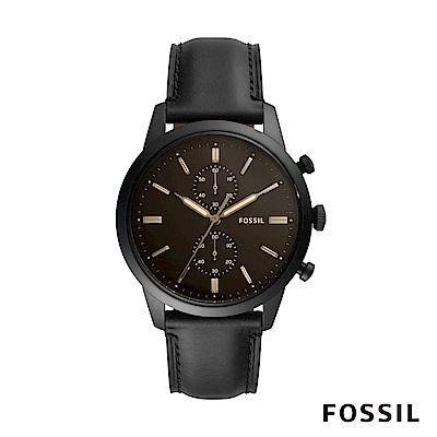 FOSSIL TOWNSMAN 咖啡錶面黑色皮革男錶 44mm FS5585