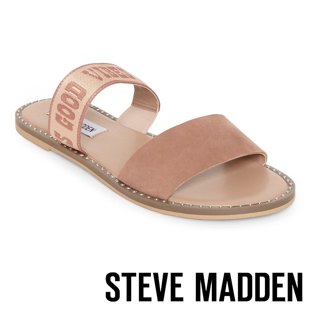 STEVE MADDEN-AUDRIE 質感涼爽織帶平底拖鞋-粉色