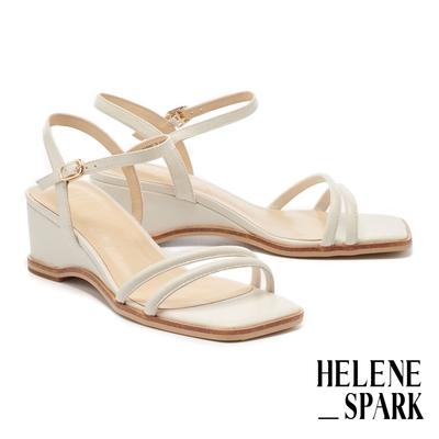 涼鞋 HELENE SPARK 簡約時尚純色圓滾繫帶方頭楔型高跟涼鞋-白