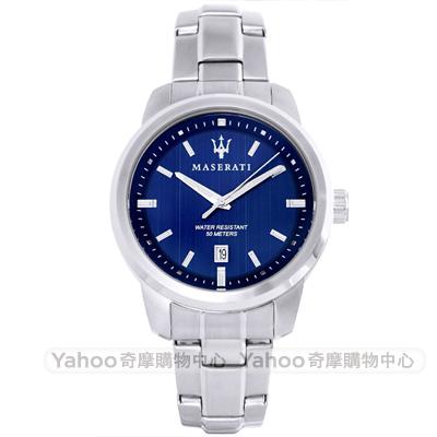 MASERATI 瑪莎拉蒂簡約時尚手錶-藍紋X銀/43mm