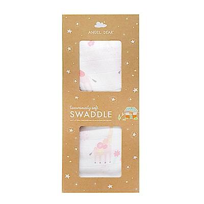 美國 Angel Dear 竹纖維嬰幼兒包巾禮盒 (花花長頸鹿)