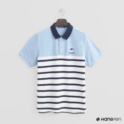 Hang Ten - 男裝 - 撞色條紋POLO衫 - 藍