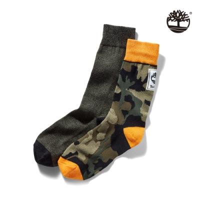 Timberland 中性軍綠色LOGO標誌兩雙組高筒長襪 A1F5X