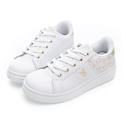 PLAYBOY 幾何圖案仿皮綁帶休閒鞋-白金-Y521515
