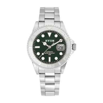 HYUN炫 白鋼男士設計精品錶-白鋼綠底