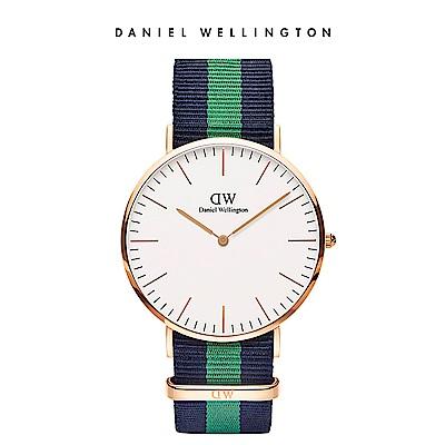 DW 手錶 官方旗艦店 40mm玫瑰金框 Classic 經典藍綠織紋錶