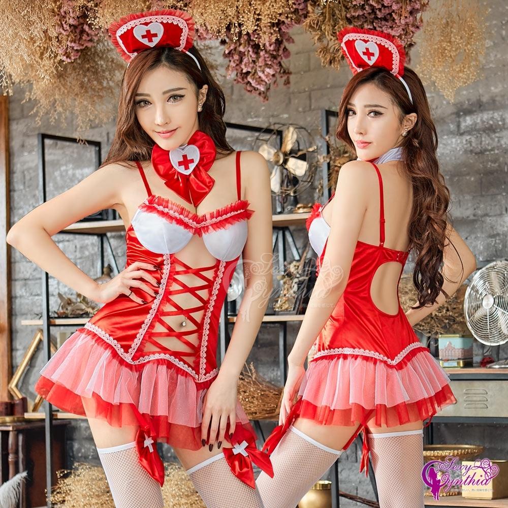 Sexy Cynthia 角色扮演 火紅挖空美背改良式性感馬甲六件式護士角色服-紅F