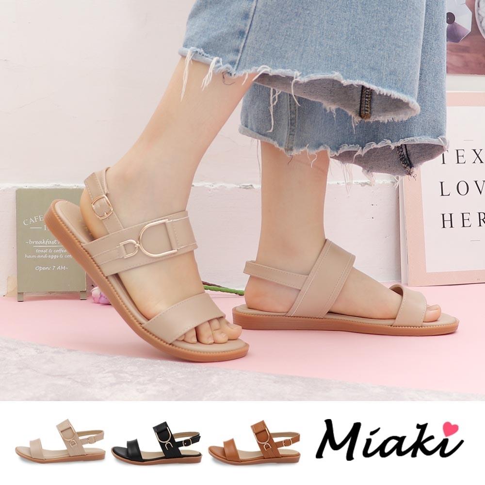 Miaki-涼鞋.韓流造型飾釦平底涼鞋 (米色系)