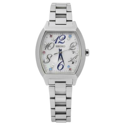 SEIKO 精工 LUKIA 施華洛世奇 太陽能 電波 不鏽鋼手錶-銀色/27mm