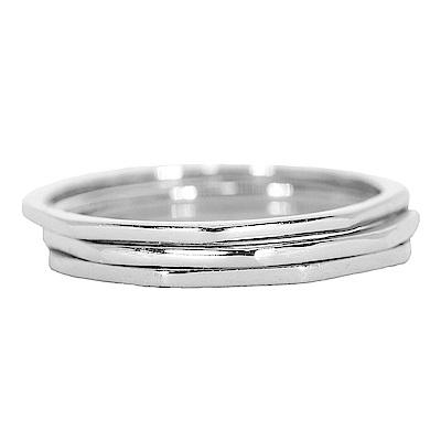 Pura Vida 美國手工 八角幾何造型銀色戒指 3件組