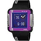 CASIO 卡西歐 復刻電玩手錶-紫x黑(LCF-21-1)