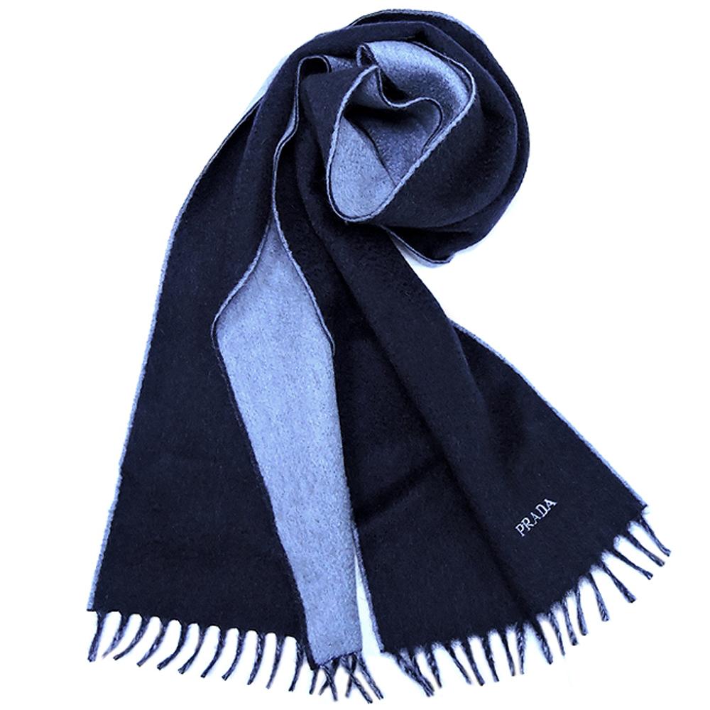 PRADA 星夜藍色素面純羊毛長版圍巾