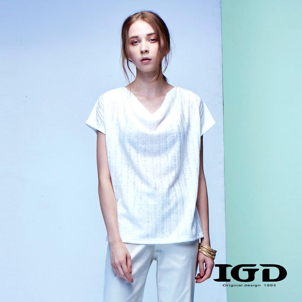 IGD英格麗 天絲棉羅馬領條紋造型上衣
