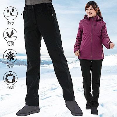 【遊遍天下】GLOBETEX女款顯瘦防水防風透濕刷毛褲雪褲GP20006黑色
