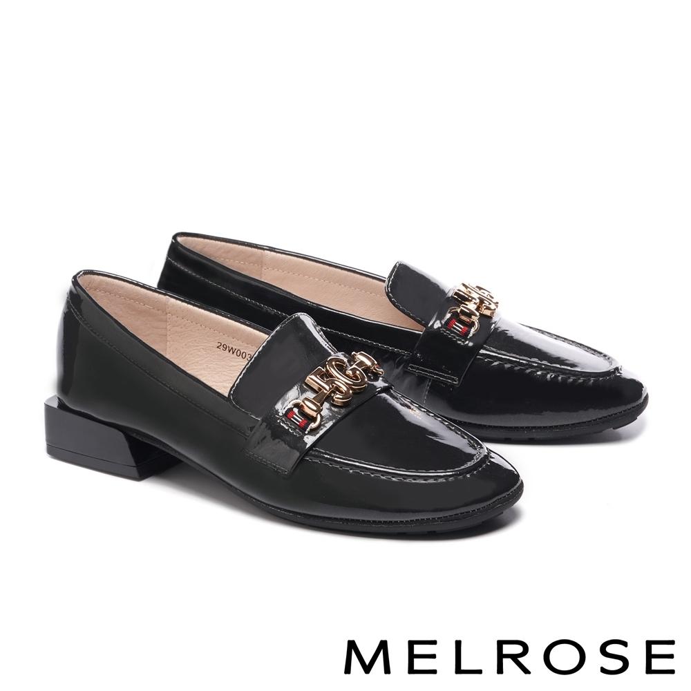 低跟鞋 MELROSE 復古知性金屬飾釦全真皮低跟鞋-灰