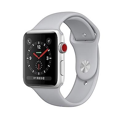 Apple Watch S3(GPS+網路) 42mm 銀色鋁金屬錶殼搭配薄霧灰色錶帶