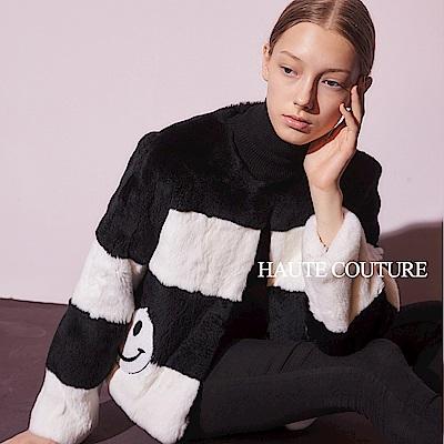 Haute Couture 高定系 精緻100%獺兔毛3D鑲飾拼接毛外套(兩色)-黑