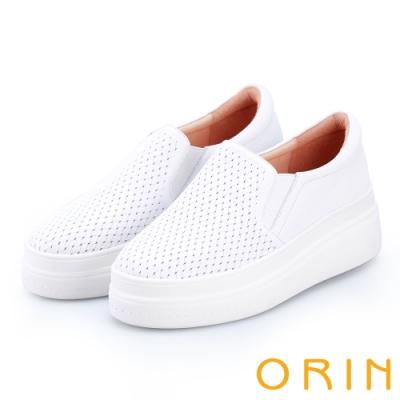 ORIN 引出度假氣氛 牛皮編織造型厚底便鞋-白色