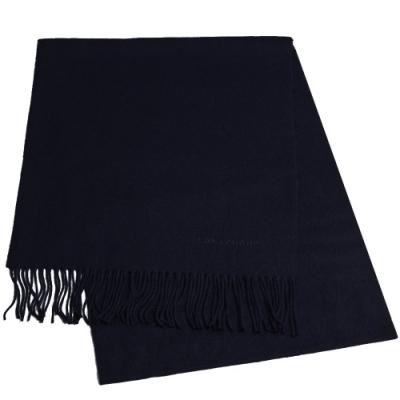 LONGCHAMP 蘇格蘭製品牌字母刺繡LOGO混喀什米爾羊毛圍巾/披肩(深藍)