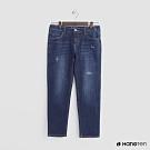 Hang Ten - 女裝 - 微刷破造型牛仔八分褲 - 深藍