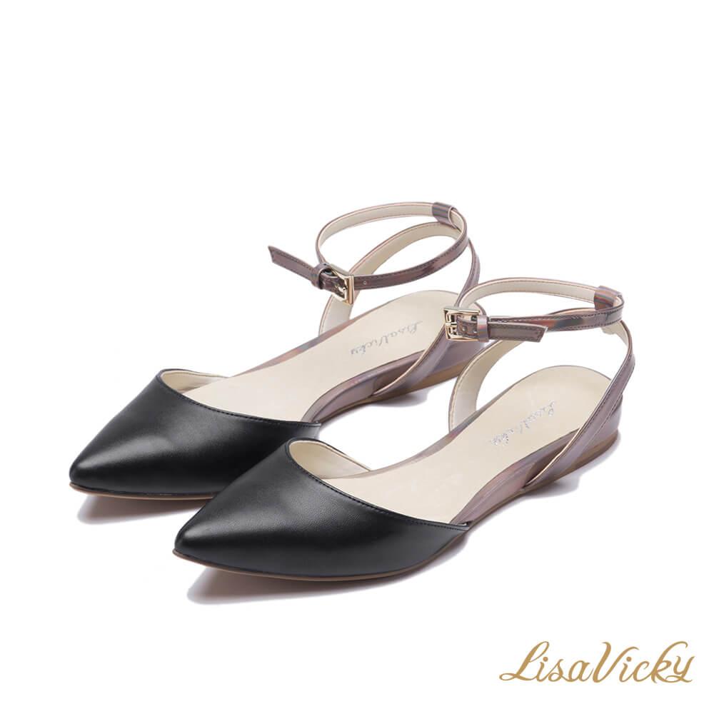 LisaVicky通勤必買踝扣綁帶尖頭平底鞋-輕巧黑