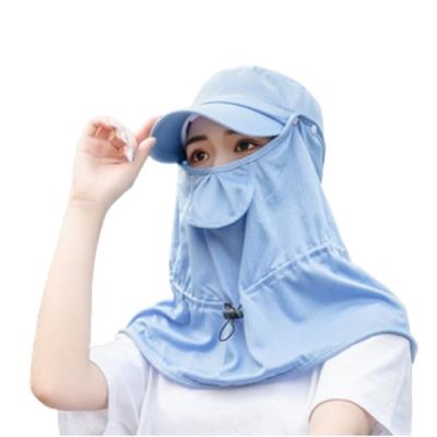 PUSH!戶外用品女遮陽帽戶外騎車防曬太陽帽子防紫外線披肩套裝H33