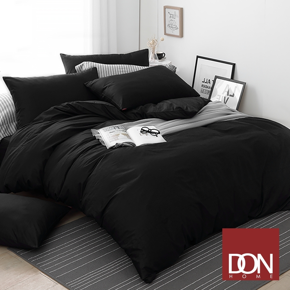 【DON】極簡生活 精梳純棉四件式被套床包組(單/雙/加大-多色任選) (曜石黑)