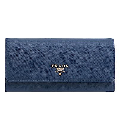 PRADA Saffiano 防刮牛皮金字釦式長夾(附可拆式證夾/深藍色)