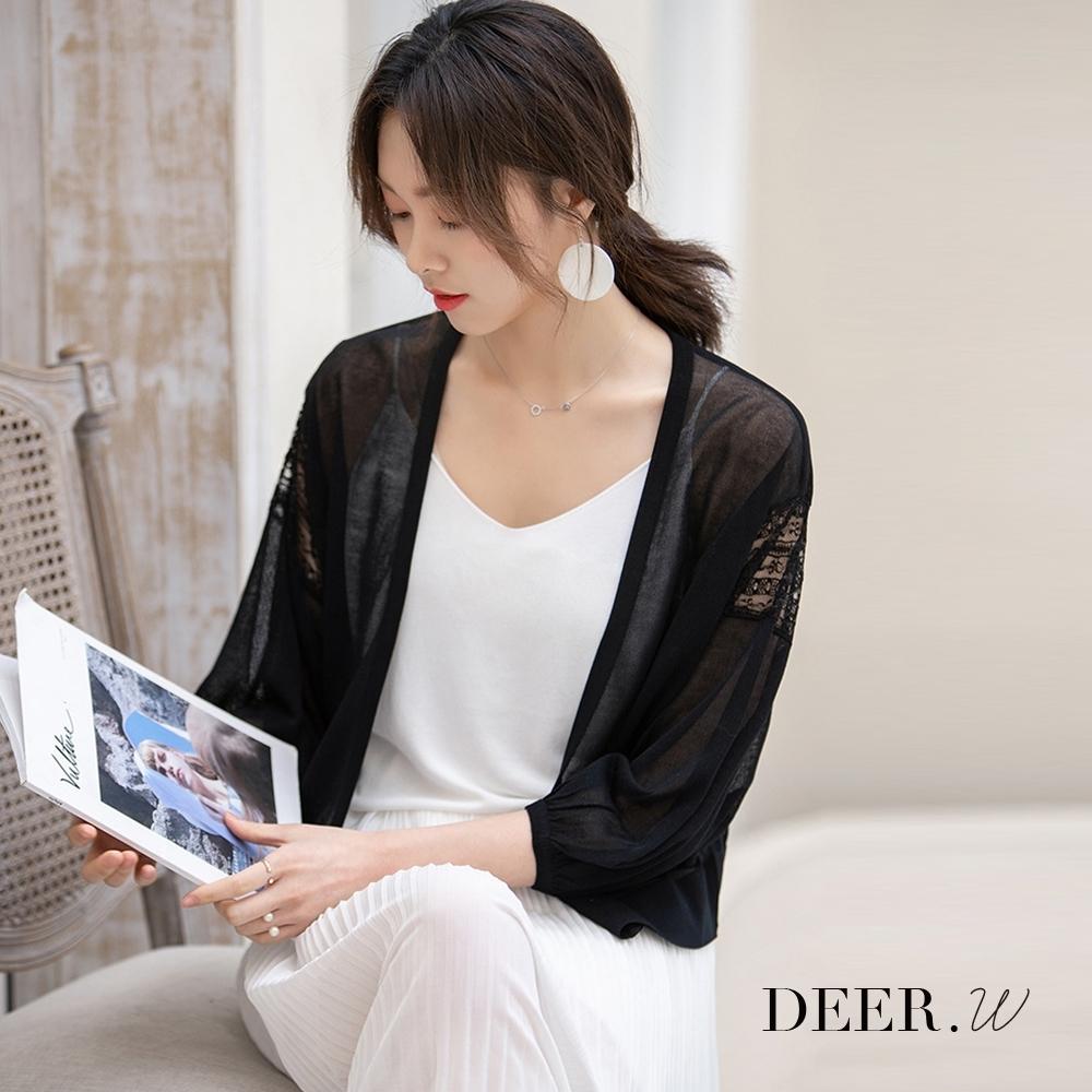 DEER.W 大V開襟拼接蕾絲澎袖針織外套(黑)
