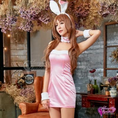 Sexy Cynthia 角色扮演 俏麗粉紅兔女郎角色扮演服五件組- 粉紅F