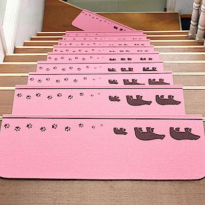 半島良品 可重覆黏貼樓梯止滑墊5入 三隻熊-粉色