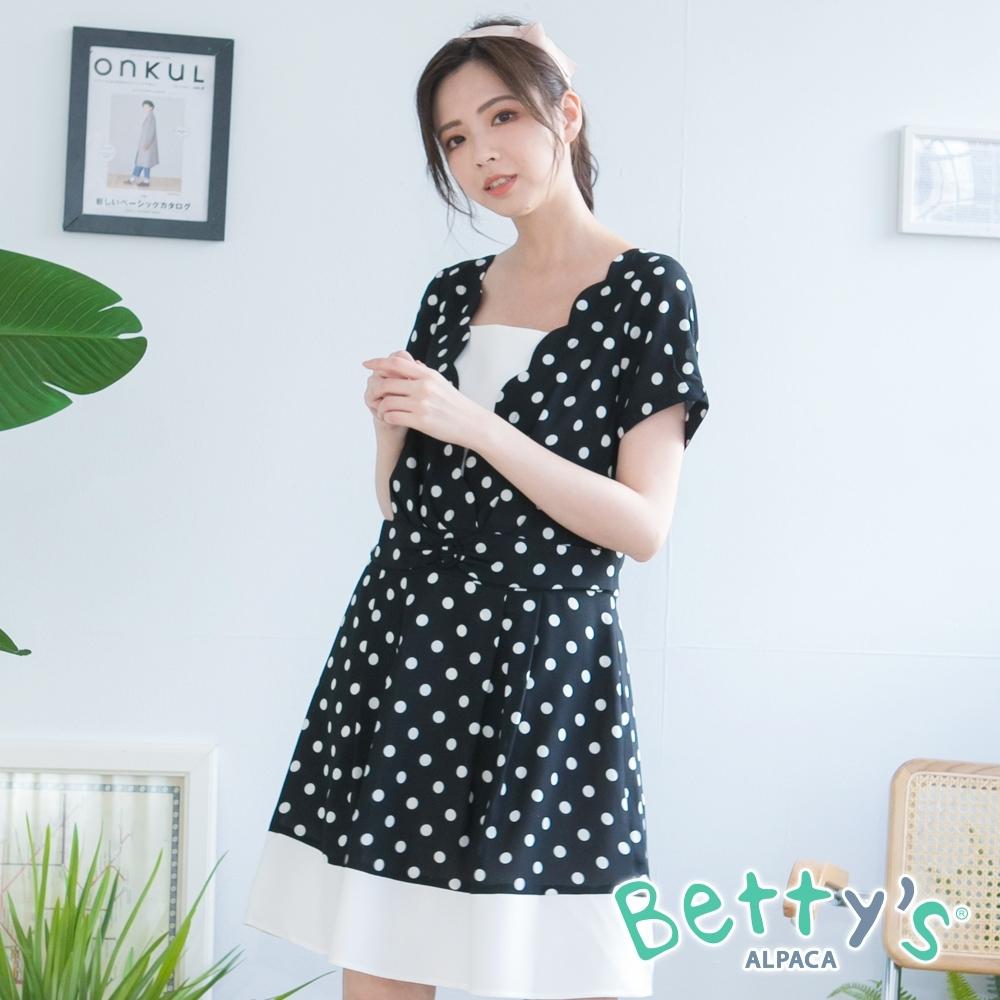 betty's貝蒂思 波卡圓點拼接洋裝(黑色)