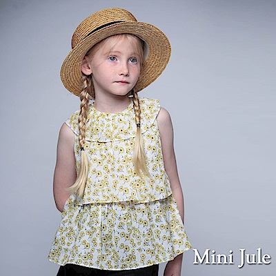 Mini Jule 童裝-上衣 滿版小花荷葉領後綁帶上衣(白)