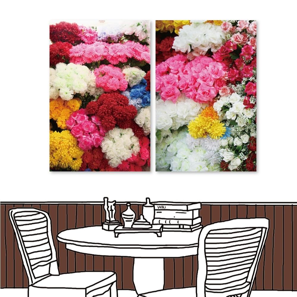 24mama掛畫 二聯式 無框畫掛畫 40x60cm- 花卉 花牆