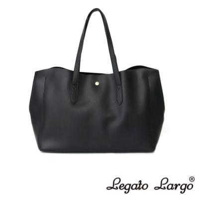 Legato Largo 驚異的輕量化 小法式輕便簡約 流線型剪裁手提袋 黑色