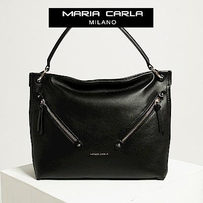 【Maria Carla】墨黑_雙斜角拉鏈鏈式側背/肩包(大款)_都會生活_頭層牛皮