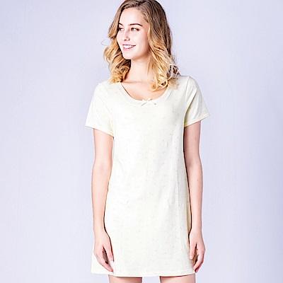 思薇爾 小綿羊系列M-L印花連身式居家洋裝(淺黃色)