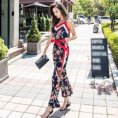 DABI 韓系印花系帶收腰連身褲寬口套裝無袖褲裝