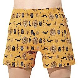 SOLIS 童話森林系列S-XXL寬鬆印花四角男褲(鵝黃色)