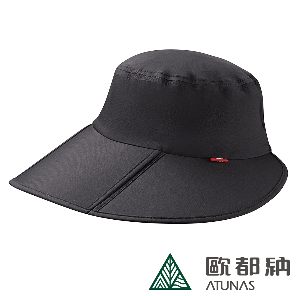 【ATUNAS 歐都納】女款防曬超輕透氣摺疊盤帽 A-A1908W 黑