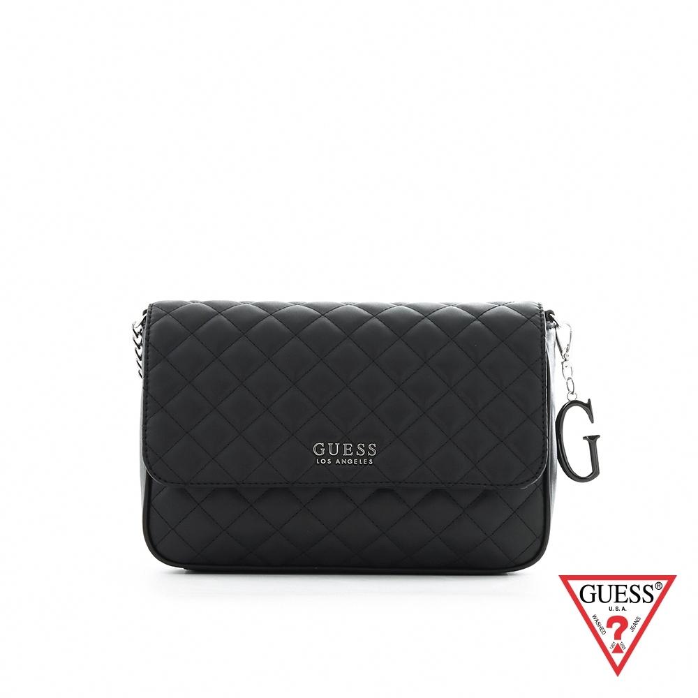 GUESS-女包-時尚菱格紋字母吊飾肩背包-黑 原價3290