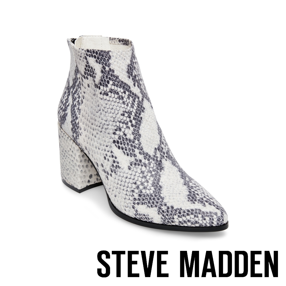 STEVE MADDEN-JILLIAN 高質感 平穩粗跟絨面後拉鍊跟靴-蛇皮白