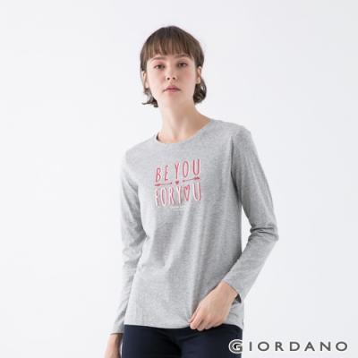 GIORDANO  女裝Choose Happy印花T恤 - 21 中花灰