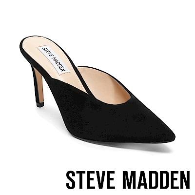 STEVE MADDEN-LAINIE絨面尖頭高跟拖鞋-絨黑