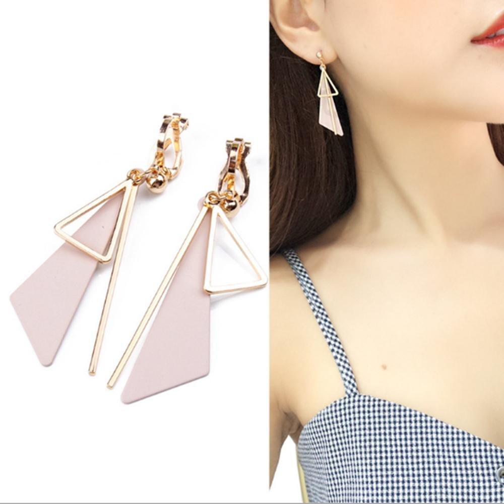 梨花HaNA 無耳洞韓國粉紅三角幾何飾界長耳環