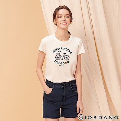 GIORDANO 女裝英文標語印花短袖T恤-41 標誌白