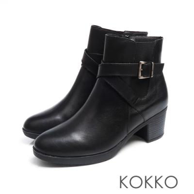 KOKKO -  懷舊風漸層刷色牛皮粗跟短靴 - 經典黑