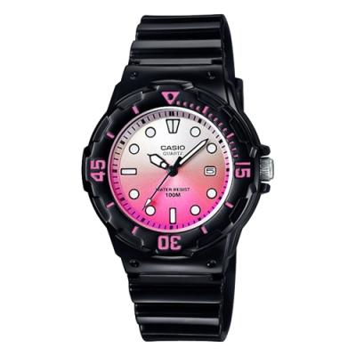 CASIO 卡西歐 清涼海洋風女錶-漸層粉x黑(LRW-200H-4EVDR)