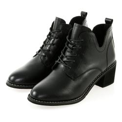 JMS-英倫風側U口復古造型綁帶粗跟短靴-黑色