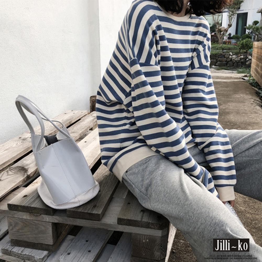 JILLI-KO 條紋寬版落肩薄款衛衣- 藍/黑